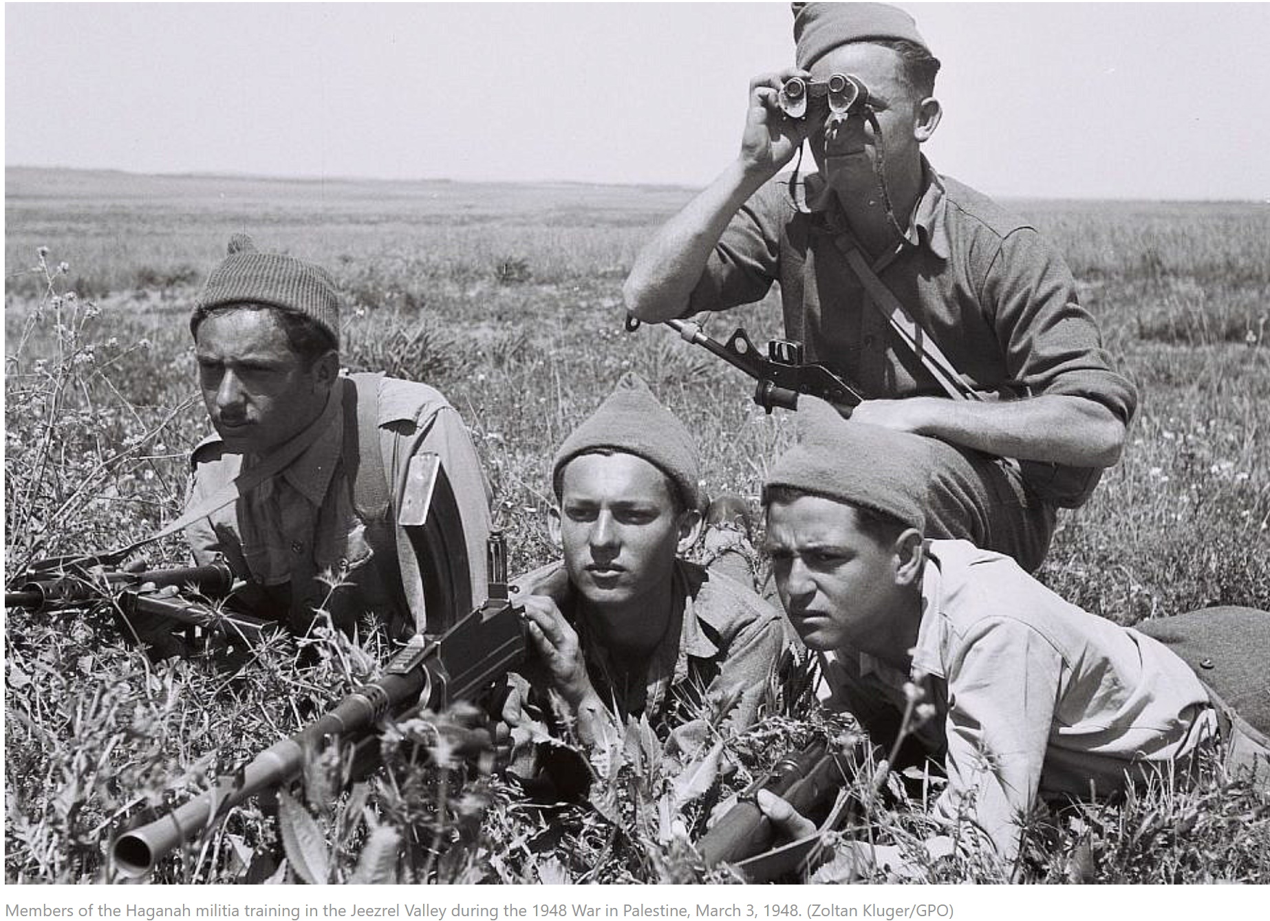 Members of the Haganah militia training in the Jeezrel Valley during the 1948 War in Palestine, March 3, 1948.