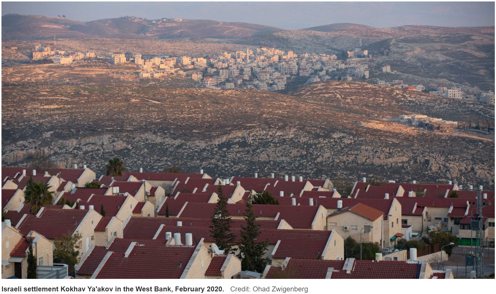 Israeli settlement Kokhav Ya'akov in the West Bank, February 2020