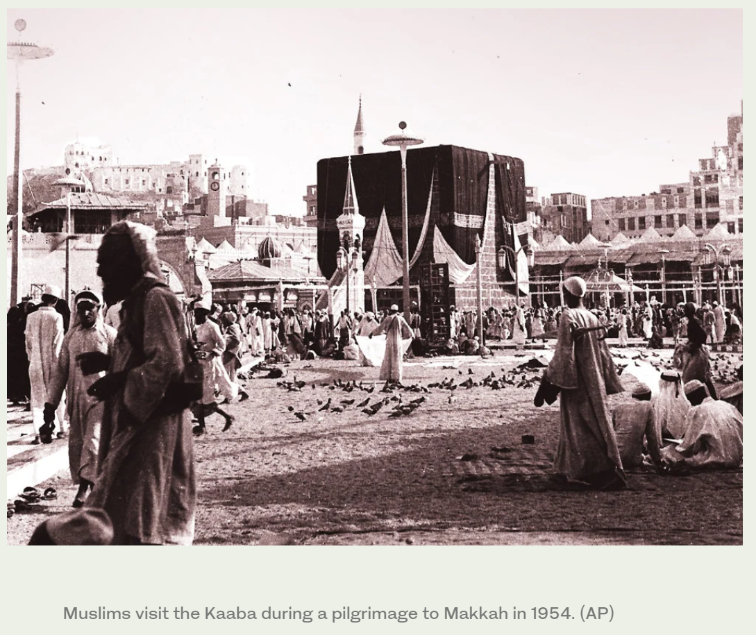 Muslims visit the Kaaba during a pilgrimage to Makkah in 1954