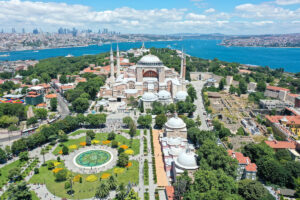 A drone photo shows the Ayasofya (Hagia Sophia) after the 10th Chamber of the Council of State's decision of the annulment of a 1934 Cabinet decision making Hagia Sophia – previously a mosque for nearly 500 years – into a museum, in Istanbul, Turkey on July 11, 2020.