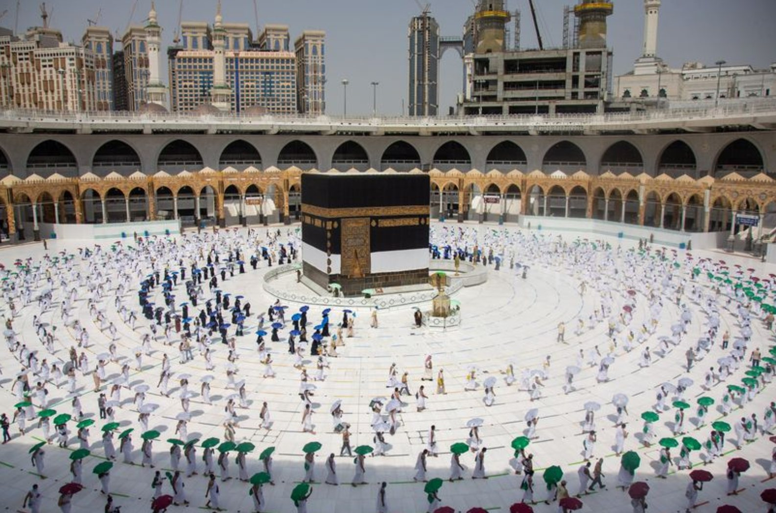 Pictures of Hajj with social distancing at Makkah