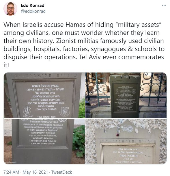 """Israelis accuse Hamas of hiding """"military assets"""" among civilians, one must wonder whether they learn their own history"""