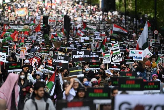 Over 180,000 march in one of the largest pro-Palestine demonstrations in British history