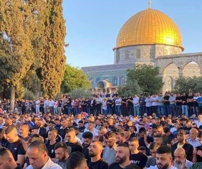 "Palestinians offer ""Salat al-Fath"" (Victory Prayer) after Friday prayers at Al-Aqsa Mosque"