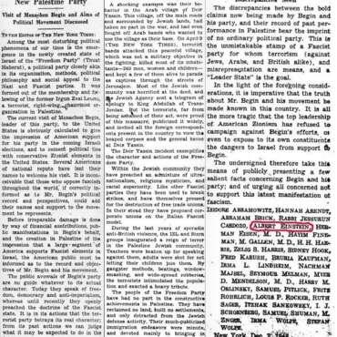 1948: N.Y. Times Publishes Letter by Einstein, Other Jews Accusing Menachem Begin of Fascism